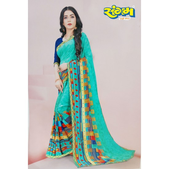 Buy Online Printed Synthetic Saree Light Green with Design