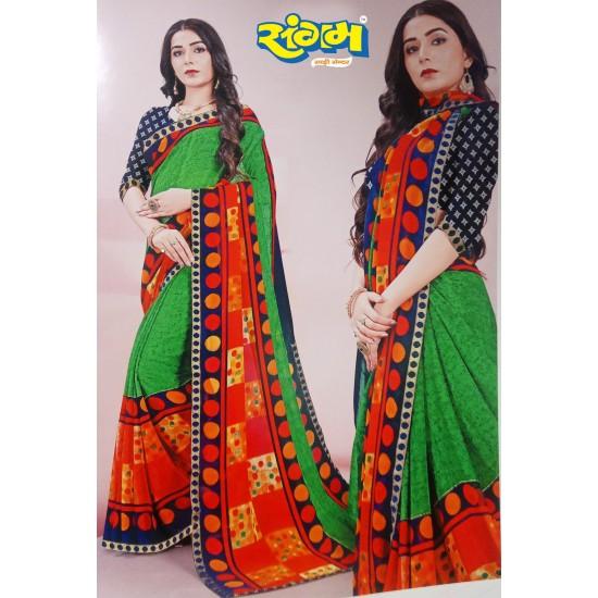 Buy Online Printed Synthetic Saree Green with Design