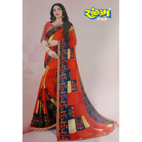 Buy Online Printed Synthetic Saree Red with Design